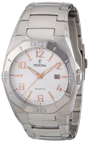 Festina F16504/5 - Reloj analógico de cuarzo para hombre con correa de acero inoxidable, color plateado