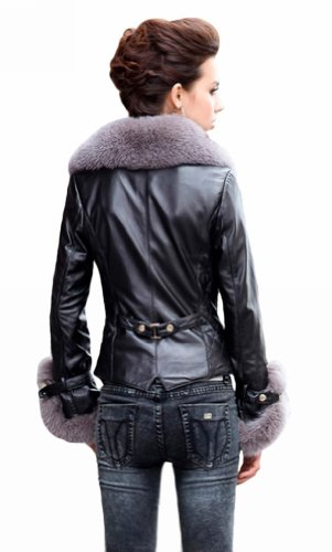 Queenshiny Long Women's 100% Real Sheep Leather Coat Jacket with Super Silver Fox Collar-Black-S(4-6..