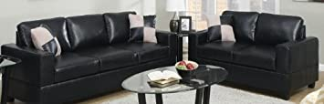 2 Pc Contemporary Black Faux Leather Sofa Loveseat Set by Poundex