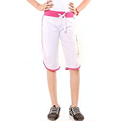 Menthol Girls Bottom Side Slit Open Capri (3-4 Years, White)