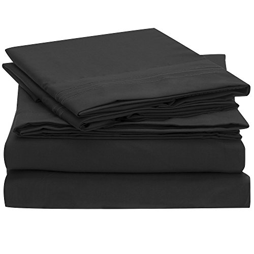 Ideal Linens Bed Sheet Set - 1800 Double Brushed Microfiber Bedding - 4 Piece (Full, Black) (Full Bedding Sheets compare prices)