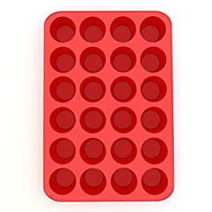 Silicone Mini Muffin Pan and Cupcake Maker 24 Cup, Red, Plus Muffin Recipe Ebook