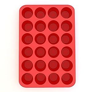 Silicone Mini Muffin Pan and Cupcake Maker 24 Cup, Red, Plus Muffin Recipe Ebook