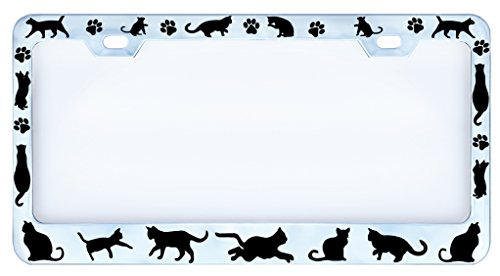 Cats & Paws Cat Figures Paw Chrome Auto Car License Plate Frame Tag, Metal, Weatherproof Vinyl Cut Letters