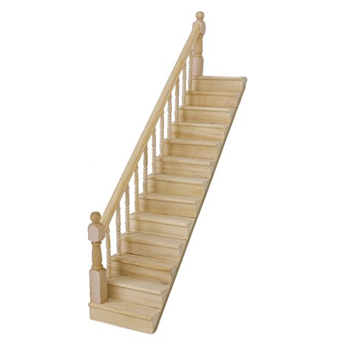 112-dollhouse-pre-assembled-staircase-wooden-stair-stringer-step-with-left-handrail-by-generic