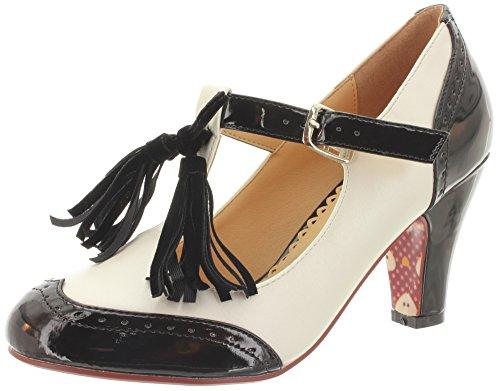 Dancing Days - Scarpe con cinturino alla caviglia Donna , bianco (nero/bianco), 38 EU