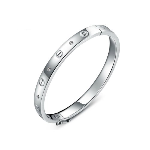 Fashion Plaza Rhodium Plated Women's Sterling Silver Cubic-Zirconia Stone Basket Set Bangle Bracelet 15.3g Weight 7.8