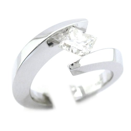 14K White Gold Princess Cut Diamond Engagement Ring Tension 0.75Ctw