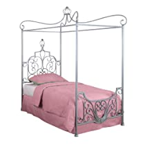 Hot Sale Powell Princess Rebecca Sparkle Silver Canopy Bed, Twin
