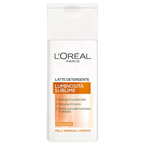 L'Oréal Paris Luminosità Sublime Latte Detergente per Pelli Normali Spente, 200 ml