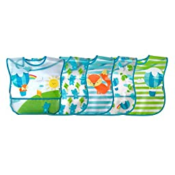 green sprouts  Wipe-Off Bib, Aqua Balloon, 5 Count