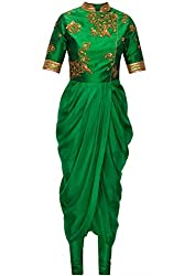 green georgette dhoti style dress