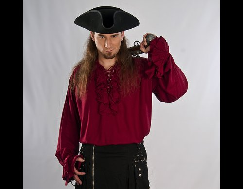 "Dress Like A Pirate Clothing Quality ""Swashbuckler"" Shirt Ruffled Cuffs"