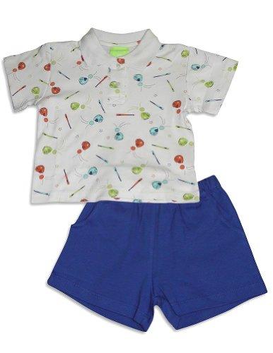 Snopea - Baby Boys Short Sleeve Baseball Short Set, White, Royal 27578-9Months front-208694