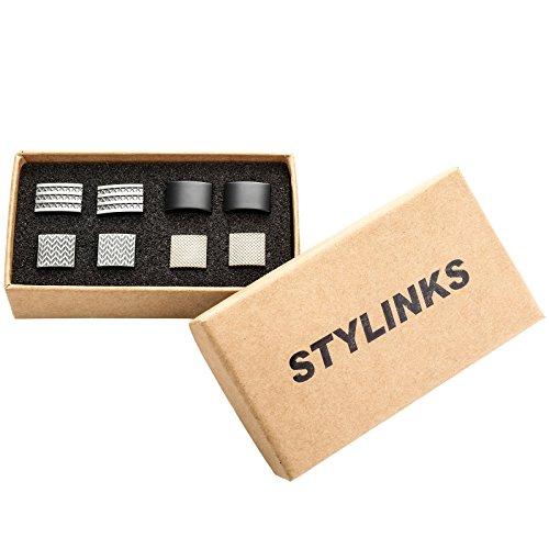 Stylinks-Unqiue-Stylish-Modern-Cufflinks-Mix-Design-Set-for-Shirt-Wedding-Business-4-Pairs