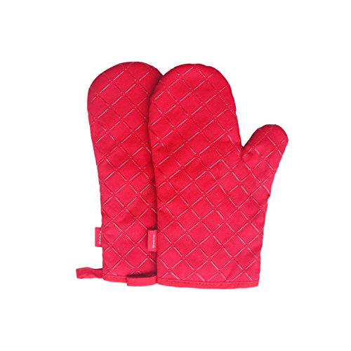 11 Inch Best Small Size Professional Commercial Grade Flexible Flame Retardant Heat Resistant Quilted Thick Cotton Kitchen Oven Mitts Mittens Cooking Glove Sets With Silicone,Set of 2 (1 Pair),Red