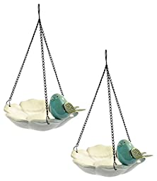 DII Stoneware and Iron Bird Bath Hanging for Outdoor Garden Use or Indoor Decor, Set of 2