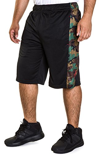 Spalding Mens Active Interlock Basketball Gym Athletic Workout Shorts With Camo Side Panel Black/Green M