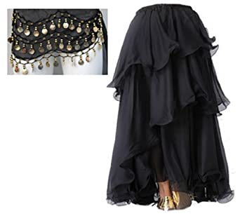A-Express® Layered Long Belly Dance Skirt Fit UK Size 6 to 14 (Black With Belt
