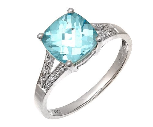 9ct White Gold Cushion Cut Blue Topaz Ring With Diamond Shoulders - Size N