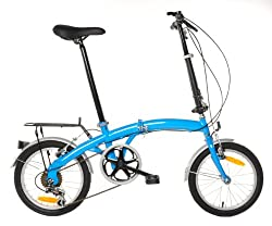 APEX Folding Bike Shimano 6 Speed with Rack & Fenders by Vilano
