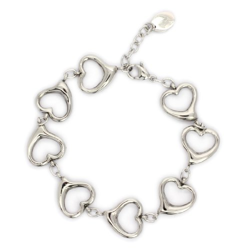 STAINLESS STEEL Stylish Hollow Out Heart Bracelet / Bangle With Cable Links (LIFETIME WARRANTY)