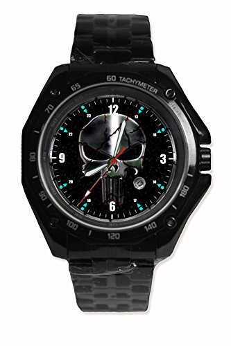 The Punisher Skull Symbol Sport Watch Stainless Steel Black Alloy