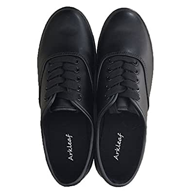 Amazon.com Arkleaf Womenu0026#39;s Slip Oil Resistant Non Slip Work Safety Lace Up Black Leather Flat ...