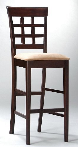 Coaster Bar Stools, Solid Wood Cappuccino with Wheat Back,30&quot;H,Set of 2