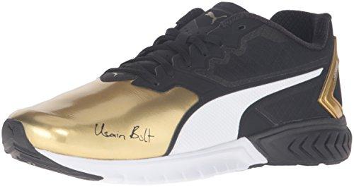 PUMA Men's Ignite Dual Bolt Running Shoe, Puma Black/Gold, 12 M US