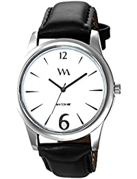 Watch Me Formal White Watch With Black Leather Strap For Men And Boys -227twm