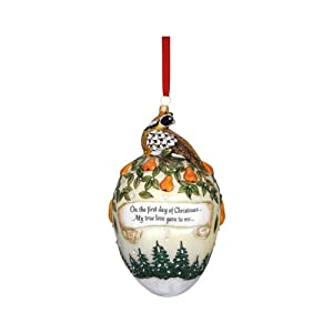 Reed & Barton C4112 Partridge Egg Ornament, 6-Inch High