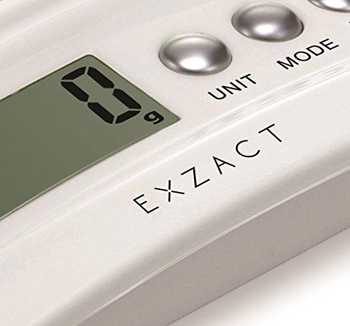 EXZACT ClearWeight Balance de cuisine électronique - Plate-forme en verre avec Stainless Steel Bouton - batterie incluse - 5 kg / 11 lb (Blanc)