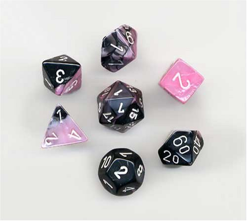 Polyhedral 7-Die Gemini Chessex Dice Set - Black-Pink with White CHX-26430