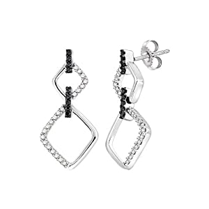 Sterling Silver Black and White Diamond Dangle Earrings (1/3 cttw, H-I Color, I2-I3 Clarity)