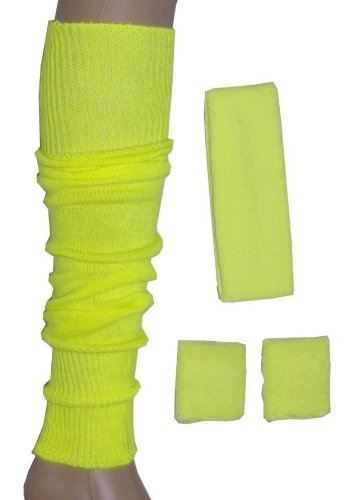 1980s Workout Fancy Dress Set. Neon Sweatband/ Headband, 2 Wristbands & Legwarmers Set