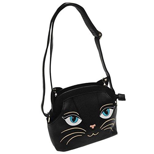 Banned Cat borsa da donna nero borsa da donna Borsa, Black, H: 18cm; W: 20cm; D: 10cm.