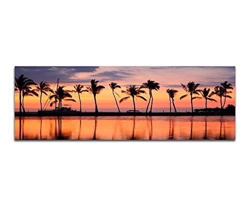 Affiche Photos sur toile-120x 40cm HAWAII mer plage et palmiers coucher de soleil