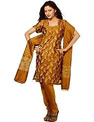 Exotic India Mustard Banarasi Salwar Kameez Suit Fabric With All-Over - Mustard