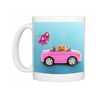 Photo Mug Of La-3728-M Hamster Driving Miniature Sports Convertible Car With Heart Shaped From Ardea Wildlife Pets