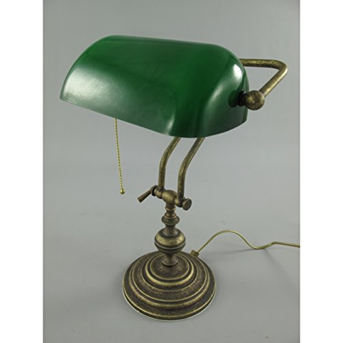 Nostalgische-Bankerlampe-aus-Messing-grn-Bankers-Lamp-Banker-Schreibtischlampe
