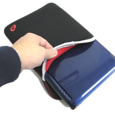 SYLVANIA G Netbook, Magni Elite Issue & Meso Mini-Note PC BLACK/RED Sissified NEOPRENE SLEEVE CASE Cover Jump Carrying Bag