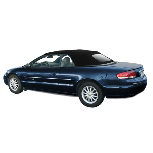 Chrysler Sebring Convertible Top for 2001-06 Models in Twillfast Cloth with Glass Window, Black