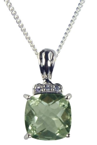 9ct White Gold Diamond Set Crown with Green Amethyst Pendant on 46cm Curb Chain