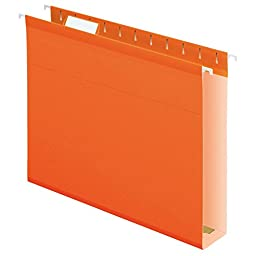 Pendaflex Extra Capacity Reinforced Hanging Folders, Letter Size, Orange, 25 per Box (04152X2 ORA)