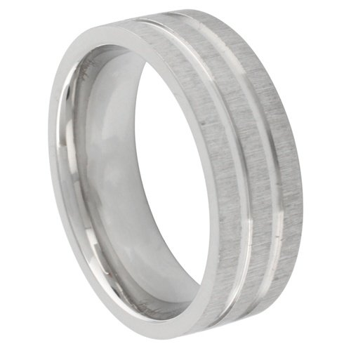 **LEAD FREE** 316L Stainless Steel 7mm Sanblast and High Polish Finish 3 Row Design Wedding Ring Band (Size 8 to 13) - Size 10
