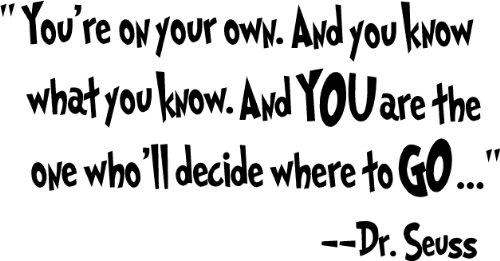 Dr seuss love quotes dr seuss love quotes youre on your own and you know what you know and you are the one wholl decide where to go dr seuss cute wall quotes sayings art vinyl wall deca thecheapjerseys Images