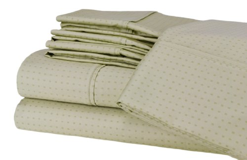 Elite Home Collection 6-Piece Dobby Dot 600 Thread-Count Cotton Rich Sateen Sheet Set