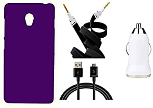 Toppings Hard Case Cover With Car Charger,Data Cable & Aux Cable For Lenovo Vibe P1 - Purple