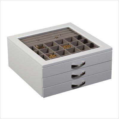 Liza Glass Top Jewelry Box in White